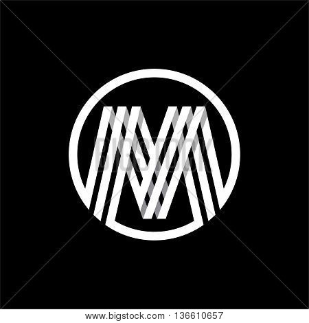 M capital letter made of of three white stripes enclosed in a circle . Overlapping with shadows monogram, logo, emblem. Trendy design.