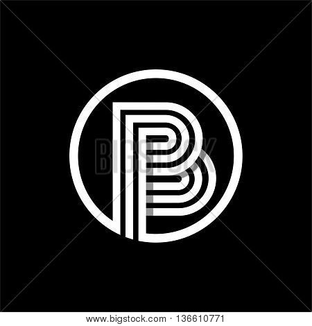 B capital letter made of of three white stripes enclosed in a circle . Overlapping with shadows monogram, logo, emblem. Trendy design.