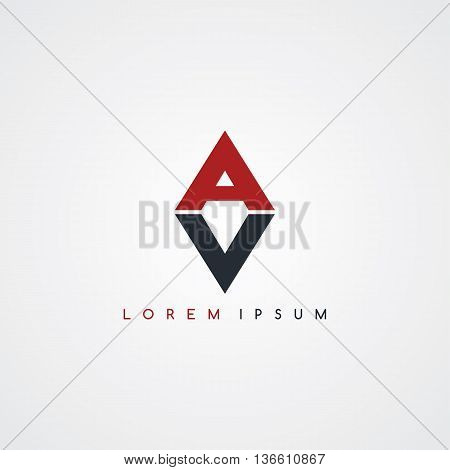 initial letter linked uppercase logo black red in white background