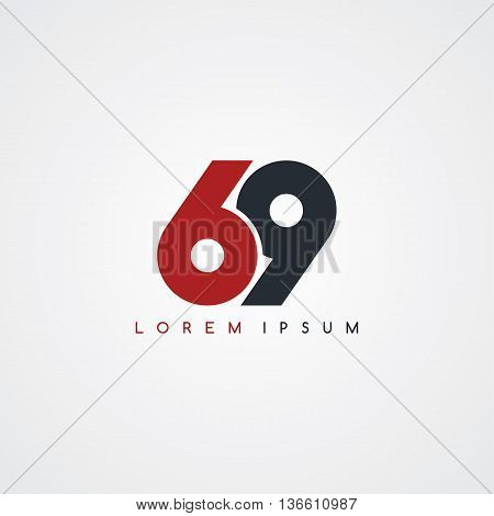 sixty nine number linked uppercase logo black red in white background