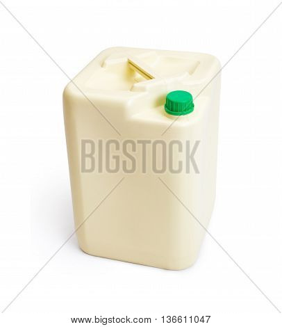 Plastic chemical gallon size container with green cap isolated on white background with some cast shadow