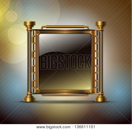 Steampunk concept. Banner metal.  Industrial vector background