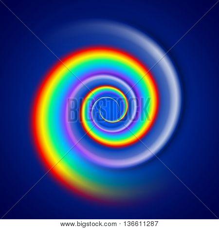 Rainbow spiral spectrum isolated on dark blue background
