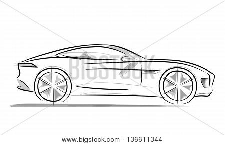 Sports car with a sleek and wide radius wheels