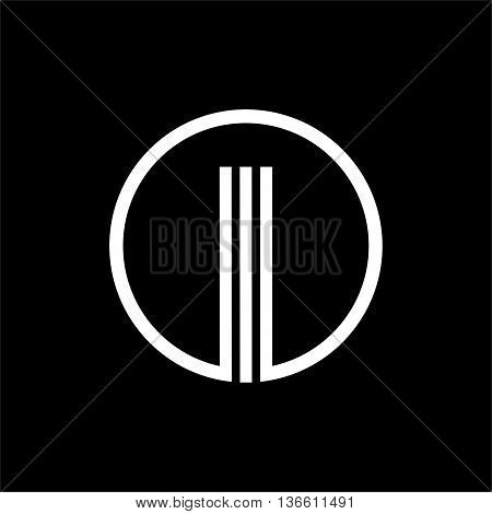 I capital letter made of of three white stripes enclosed in a circle . Overlapping with shadows monogram, logo, emblem. Trendy design.