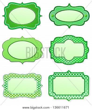 Set of green icon designs in old fashioned style
