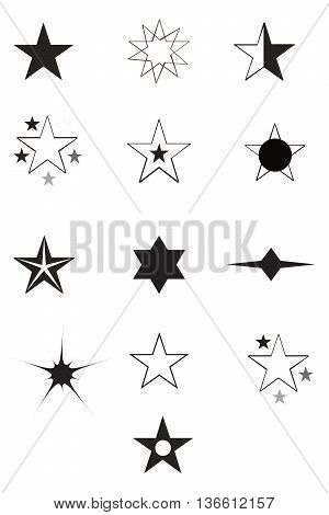 Set of Star Icons plan backgrounds computer graphic art quality