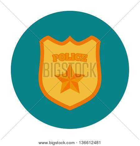 Police badge flat icon. Protection law order symbol