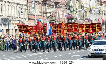 St. Petersburg, Russia - 9 May, Military flags and banners, 9 May, 2016. Holiday-action