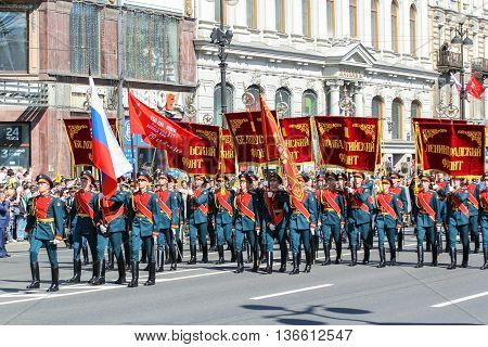 St. Petersburg, Russia - 9 May, The parade of military flags and banners, 9 May, 2016. Holiday-action