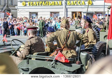 St. Petersburg, Russia - 9 May, People in military uniform in the car, 9 May, 2016. Holiday-action
