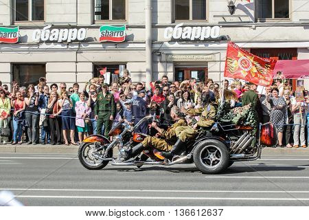 St. Petersburg, Russia - 9 May, Military in the tricycle, 9 May, 2016. Holiday-action