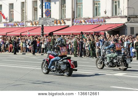 St. Petersburg, Russia - 9 May, A couple of bikers on motorcycles, 9 May, 2016. Holiday-action