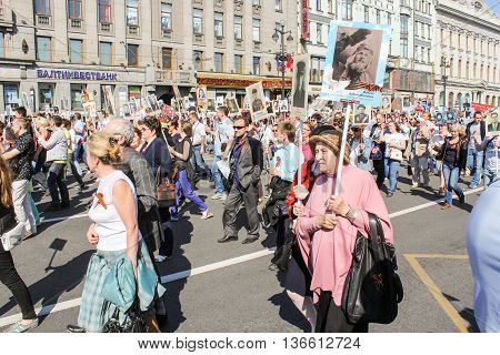 St. Petersburg, Russia - 9 May, Walking people in the convoy, 9 May, 2016. Holiday-action