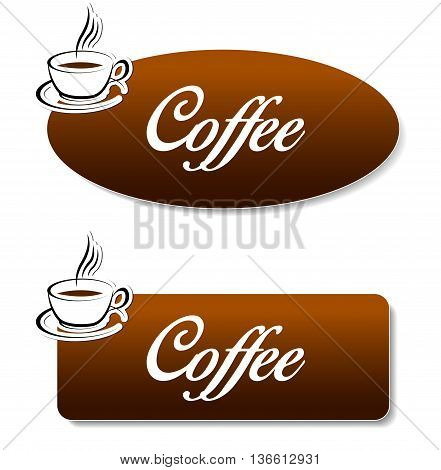 Illustration of brown coffee banners on white background