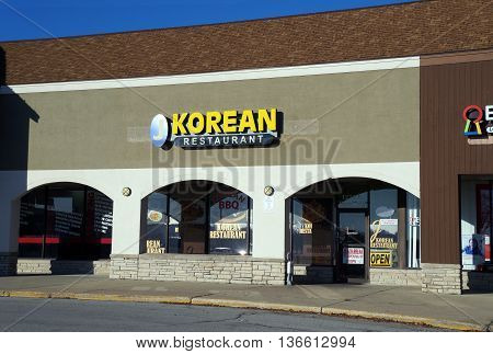 NAPERVILLE, ILLINOIS / UNITED STATES - NOVEMBER 3, 2015: One may eat Korean food at the J Korean Restaurant in a Naperville strip mall.