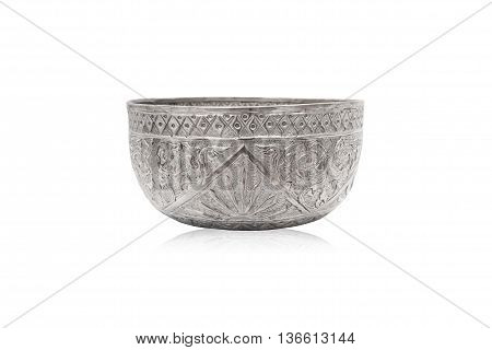 Old classic Thai art silver bowl. Handmand and handy craft for interior decoration.