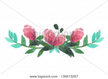 Floristic composition for creating invitations, postcards, brochures and advertising. Colorful purple floral collection with leaves and flowers, drawing watercolor.
