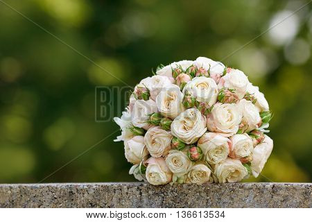 beautiful wedding bouquet of the bride. nature, rose