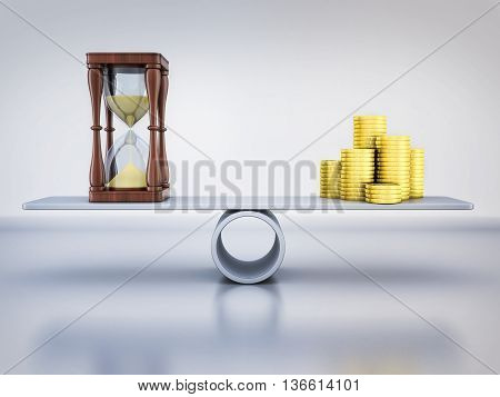 Abstract balance time and money (done in 3d rendering)