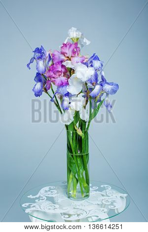 bouquet of spring purple Iris in a vase