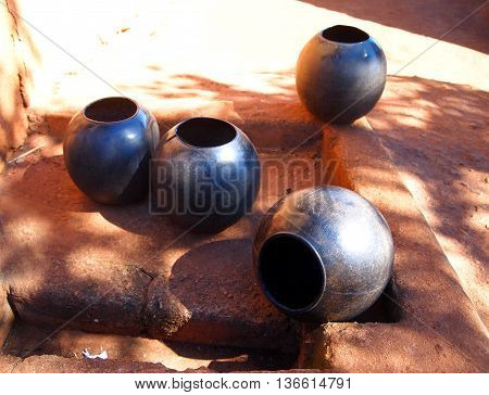 Clay pots. African traditional ethnic crockery. Tribal art. South Africa.