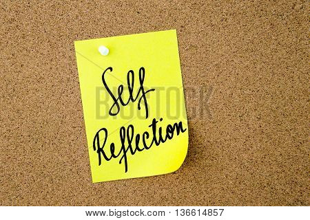 Self Reflection Written On Yellow Paper Note