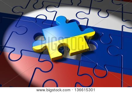 3d illustration Conflict between Ukraine and Russia symbolized with a Puzzle