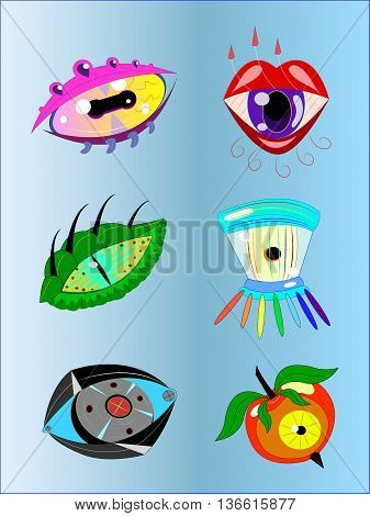 Six different fantastic eyes of various animals