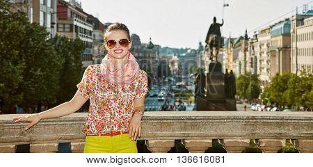 Happy Woman Near National Museum At Wenceslas Square, Prague