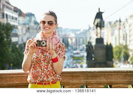 Woman With Digital Camera Standing Near National Museum, Prague