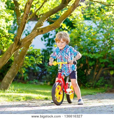 Active blond kid boy in colorful clothes driving bicycle in domestic garden. Toddler child dreaming and having fun on warm summer day. outdoors games for children
