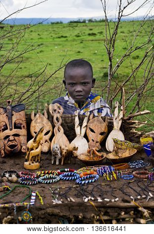 Child Sells  Souvenirs At Maasai Mara, Kenya