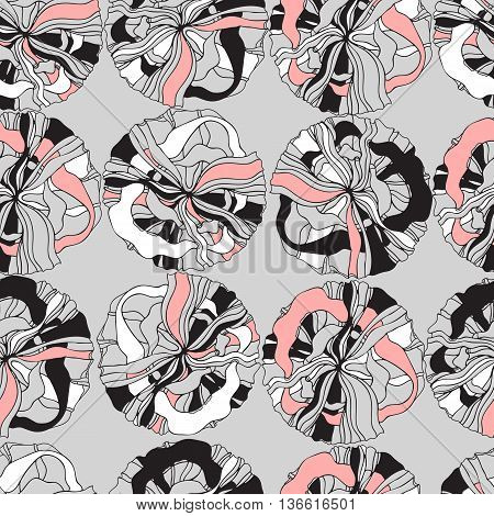 Abstract seamless pattern with retro shapes rings and  waves on grey background. Hand drawn background for design and decoration textile, covers, package, wrapping paper.