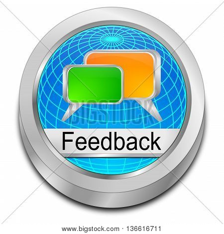 decorative blue Feedback button - 3D illustration