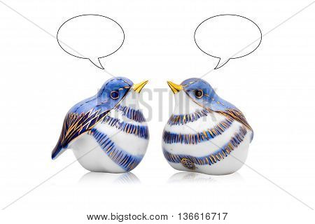 Couple of artificial Chinese style ceramic birds with dialogue box