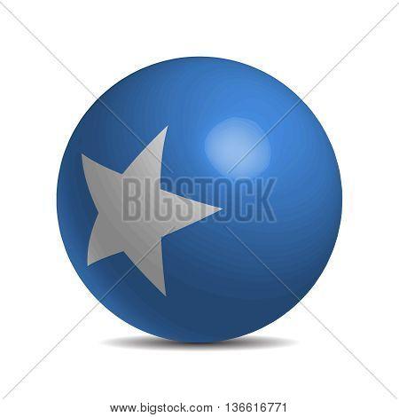 Somalia flag on a 3d ball with shadow, vector illustration