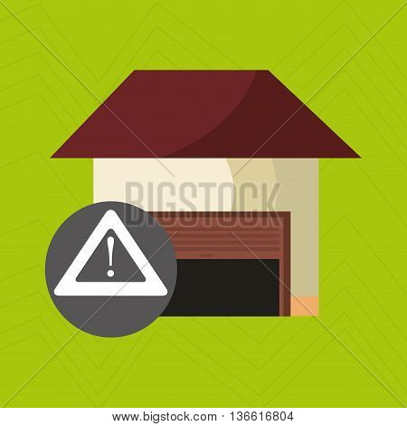 smart home with alert symbol isolated icon design, vector illustration  graphic