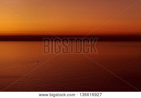 Beautiful blazing sunrise over the Mediterranean Sea. Spain
