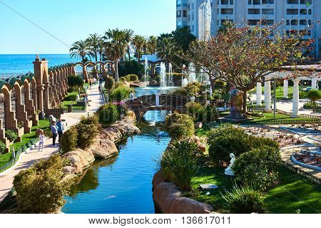 Oropesa del Mar Spain- March 29 2016: Picturesque Marina d'Or garden in the Oropesa del Mar resort town. Spain