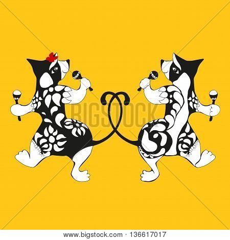 Wombat, tattooed dancing with maracas Doubles drawing - a silhouette of the front and rear