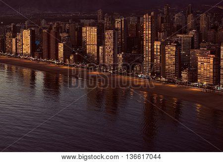 Aerial view of a Benidorm coastline. Costa Blanca, Spain. Golden hour.