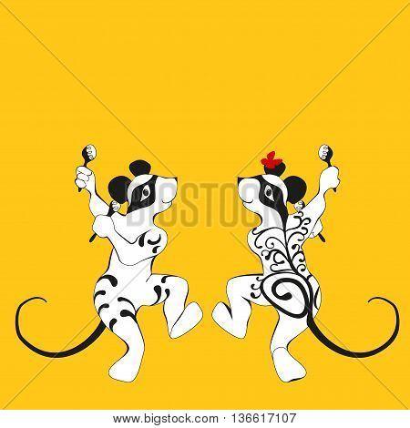 Mouse, tattooed dancing with maracas Doubles drawing - a silhouette of the front and rear
