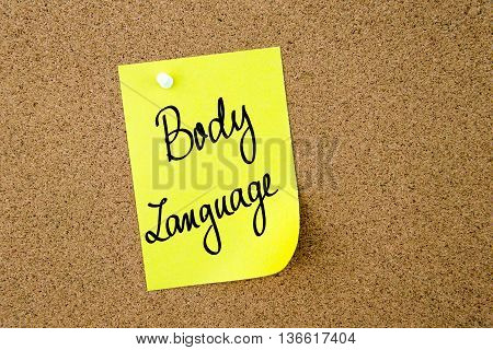 Body Language Written On Yellow Paper Note