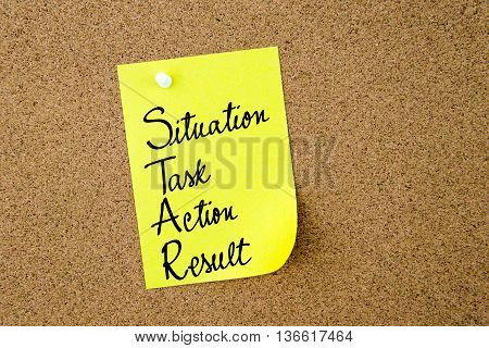 Star As Situation, Task, Action, Result Written On Yellow Paper Note
