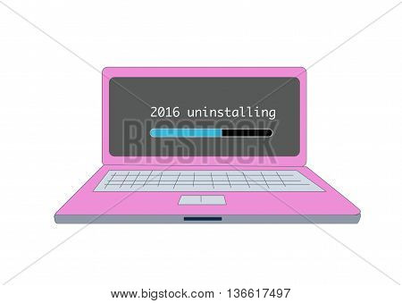 uninstall 2016 on computer, year end concept vector