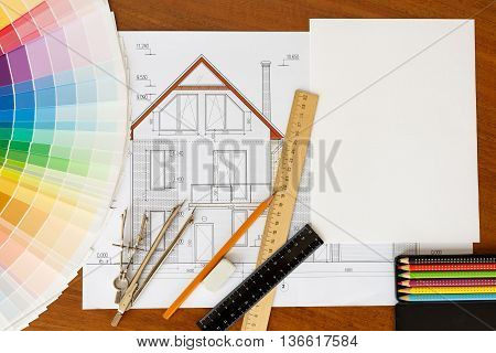 architectural facade drawing color palette guide pencils and ruler.Graphic designer at work. mockup template