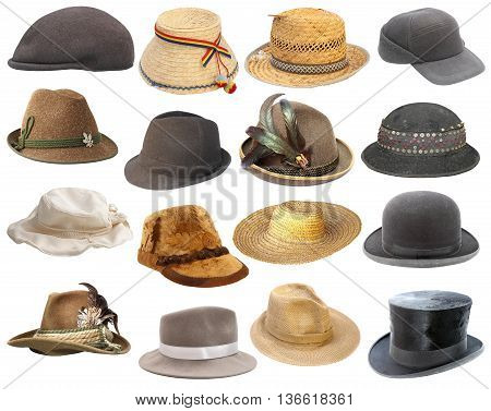 large collection of hats isolated over white background