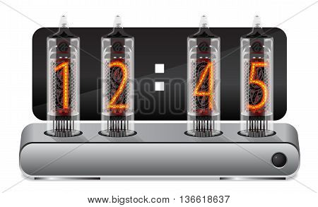 Clock with vintage vacuum tube display. Vector illustration