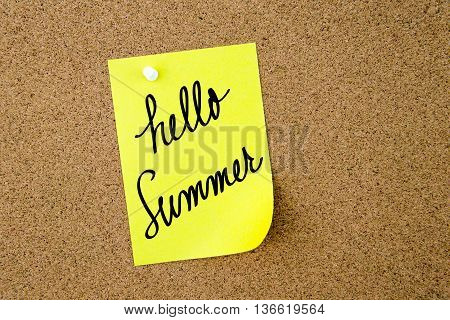 Hello Summer Written On Yellow Paper Note